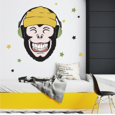 Vinilos decorativos juveniles - Music monkey