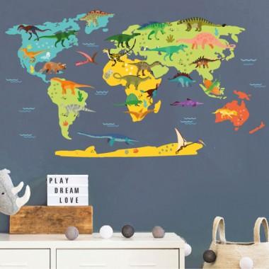 Mapamundi con dinosaurios - Vinilos decorativos de pared