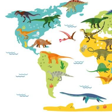 Mapamundi amb dinosaures - Vinil decoratiu de paret