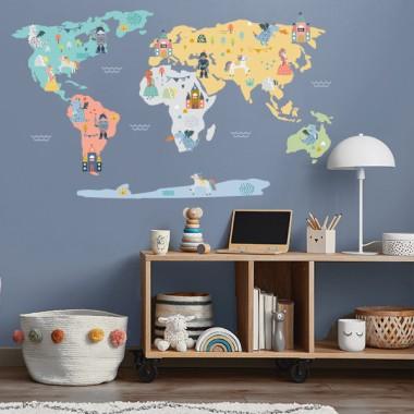Carte du monde princesses, princes et dragons - Stickers muraux déco