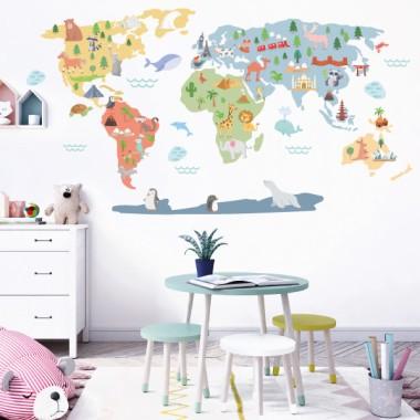 Mapamundi Món feliç - Vinils decoratius de paret