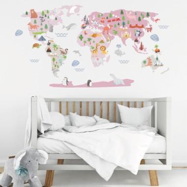 Mapamundi Món feliç - Rosa - Vinils decoratius de paret