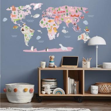 Mapamundi Mundo feliz - Rosa - Vinilos decorativos de pared