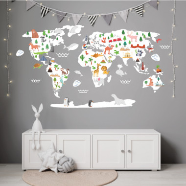 Mapamundi Món feliç - Blanc - Vinils decoratius de paret