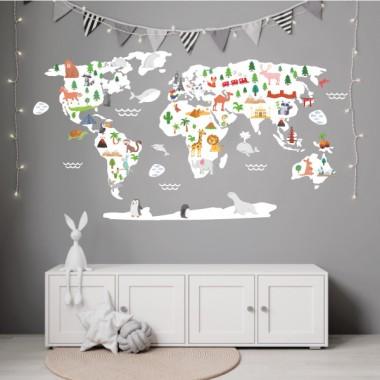 Mapamundi Mundo feliz - Blanco - Vinilos decorativos de pared