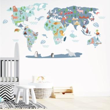 Mapamundi Món feliç - Blau - Vinils decoratius de paret