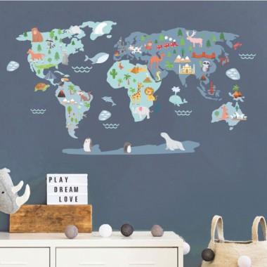 Mapamundi Mundo feliz - Azul - Vinilos decorativos de pared