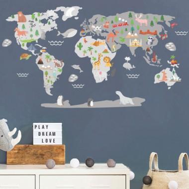 Mapamundi Món feliç - Gris - Vinils decoratius de paret