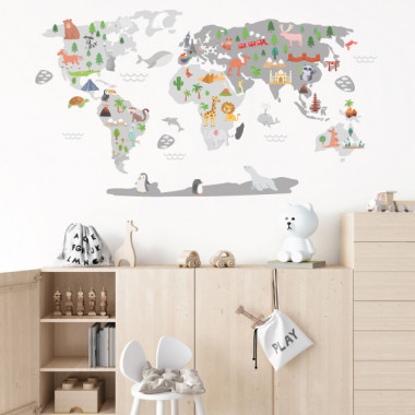 Mapamundi Mundo feliz - Gris - Vinilos decorativos de pared