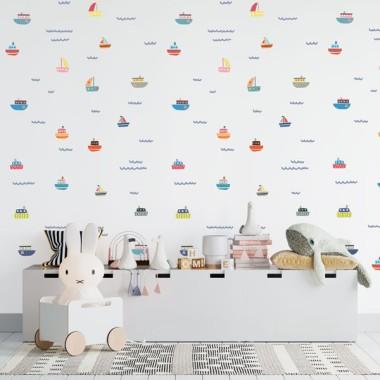 Paper de paret autoadhesiu - Vaixells de colors - Paper pintat infantil