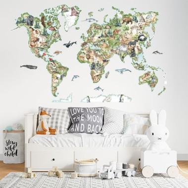 Mapamundi realista Montessori - Vinilos decorativos de pared