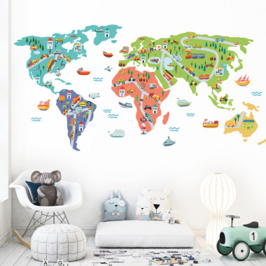Mapamundi - Vehículos - Vinilos decorativos de pared
