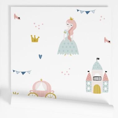 Papel de pared autoadhesivo - Princesas y castillos - Papel pintado infantil