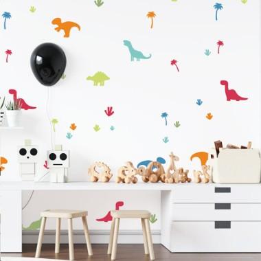 Dinosaures de colors vius - Paper pintat de paret infantil