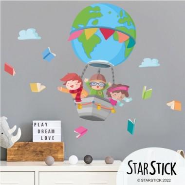 Vinilos infantiles de pared - Volando con libros