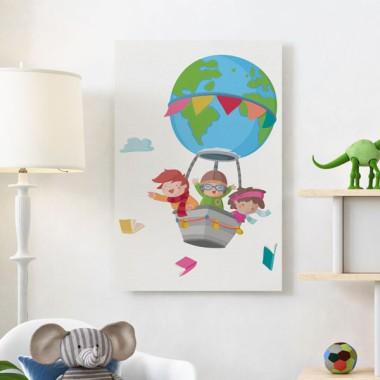 Lámina decorativa de pared - Volando con libros