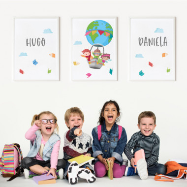 Pack de 3 cuadros infantiles - Volando con libros