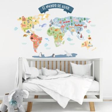 Vinilo infantil personalizable con nombre - El Mundo de...