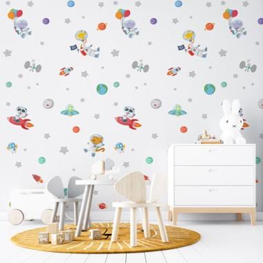 Paper de paret autoadhesiu - Animals astronautes - Paper pintat infantil