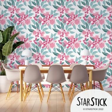 Papel de pared autoadhesivo - Hojas de eucalipto con flor
