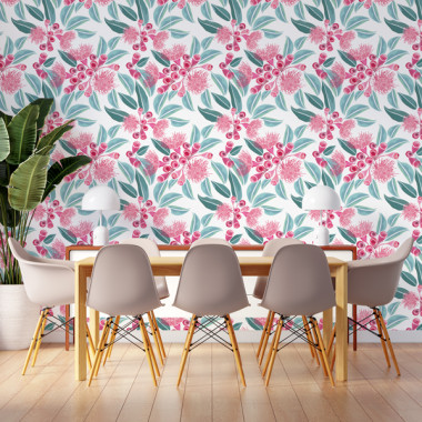 Paper de paret autoadhesiu - Fulles d'eucaliptus amb flor