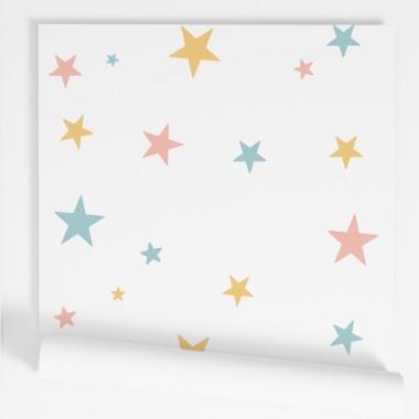 ¡Personalizable! Papel de pared autoadhesivo - Estrellas color a elegir