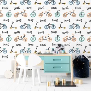 Paper pintat de paret infantil - Bicicletes