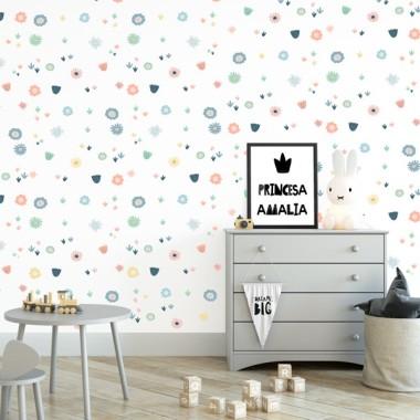 Papel pintado de pared infantil - Flores