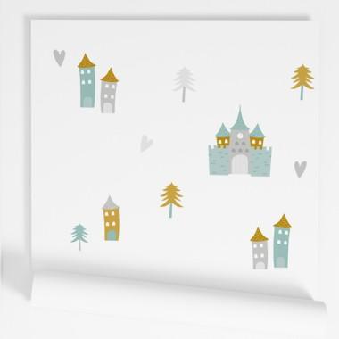 Papel pintado de pared infantil - Castillos de princesas y príncipes