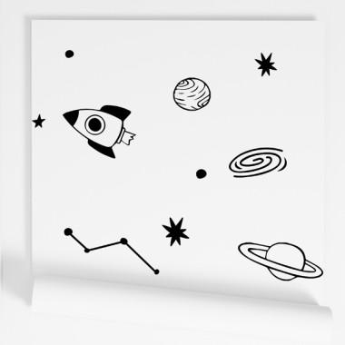 Paper pintat infantil - Space - Negre