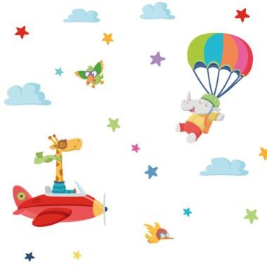 Papel pintado infantil - Aviones con animales