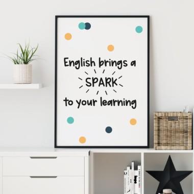 Lámina decorativa de pared - English bring spark to your learning