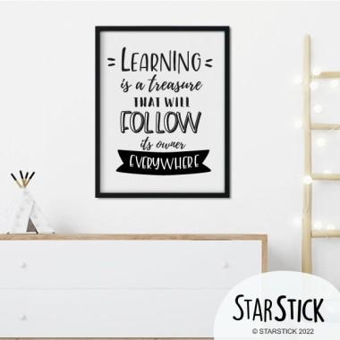 Lámina decorativa de pared - Learning is a treasure