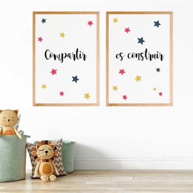 Pack de 2 láminas decorativas - Compartir es construir
