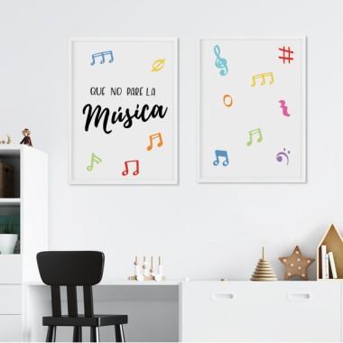 Pack de 2 láminas decorativas - Que no pare la música