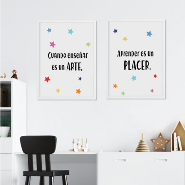 Pack de 2 láminas decorativas - Cuando enseñar es un arte, aprender es un placer