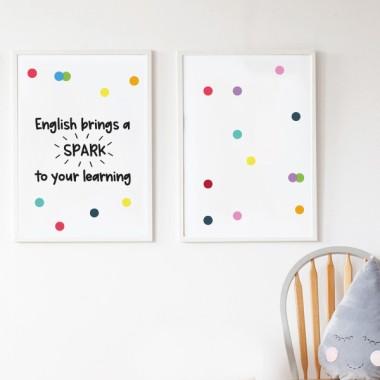 Pack de 2 láminas decorativas - English bring spark to your learning
