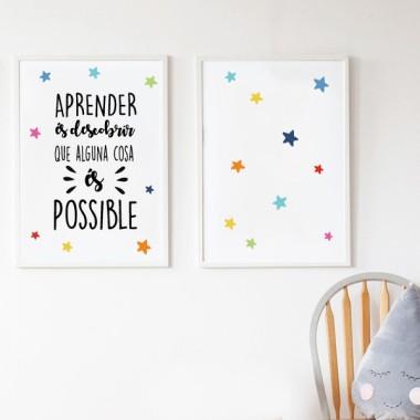 Pack de 2 láminas decorativas - Aprender es descubrir que algo es posible