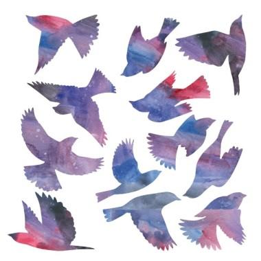 Oiseaux à lilas - Sticker muraux Stickers la maison Stickers Oiseaux à lilas  Les Tailles Taille de la feuille: 60x60 cm Taille du montage: 150x95 cm Taille des oiseaux 12 oiseaux entre 14 et 20 cm de large chacun  vinilos infantiles y bebé Starstick