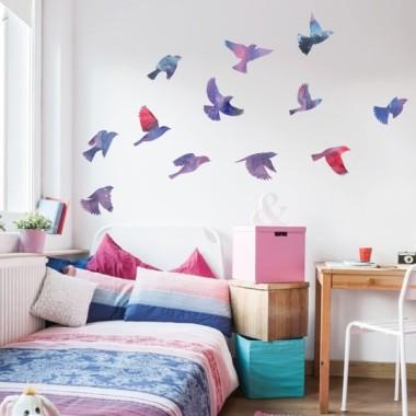 Vinilos decorativos Pájaros en tonos lila  - Vinilos de pared