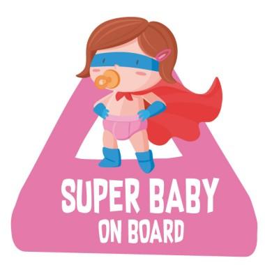 Super bebé a bordo. Niña – Pegatinas bebé a bordo para coche