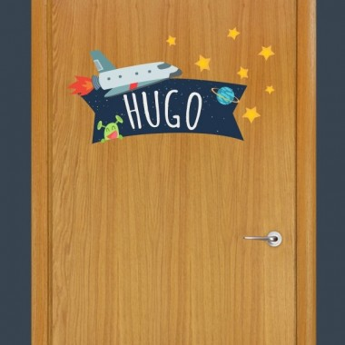 Astronauta - Nombre para puertas Vinilo infantil