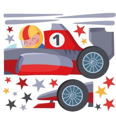 Cotxe de la Fómula 1 - Vinils infantils  Vinils Nen Per als amants dels cotxes de carreres tenim un vinil decoratiu amb un super cotxe de Fórmula 1.  Mides aproximades del vinil enganxat (ample x alt) Petit:100x50 cm Mitjà:150x80 cm Gran:200x100 cm Gegant:350x170 cm   AFEGEIX UN NOM AL VINIL DES DE 9,99 €  vinilos infantiles y bebé Starstick