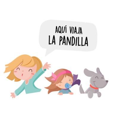 Personalizable - Aquí viajan... – Bebé a bordo Una niña, un bebé y un perrito