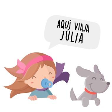 Personalizable - Aquí viajan... – Bebé a bordo Un bebé niña y un perrito