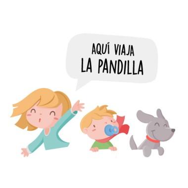 Personalizable - Aquí viajan... – Bebé a bordo Una niña, un bebé niño y un perrito