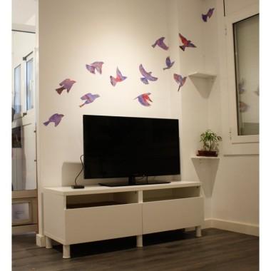 Vinils decoratius Ocells de tons lila - Vinils de paret
