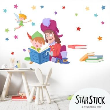 Peter Pan y Garfio leyendo - Vinilos para colegios y bibliotecas