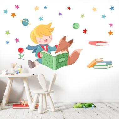 Pequeño príncipe y zorro leyendo - Vinilos para colegios y bibliotecas