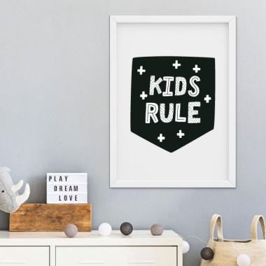 Lámina infantil - Kids rule - Cuadro decorativo